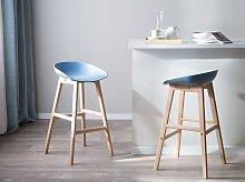 Set of 2 Bar Stools Light Wood and Blue Plastic 85