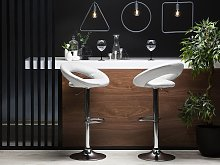 Set of 2 Bar Stools White Faux Leather Upholstery