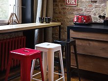 Set of 2 Bar Stools White Metal 76 cm Stackable