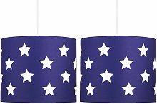 Set of 2 Blue with White Stars 25cm Light Shades