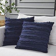 Set of 2 Boho Cushion Cover Cotton Linen Striped