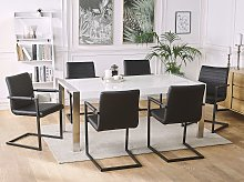 Set of 2 Cantilever Chairs Faux Leather Black