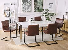 Set of 2 Cantilever Chairs Faux Leather Brown