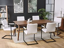 Set of 2 Cantilever Chairs Faux Leather Off-White