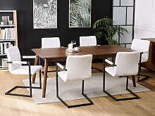 Set of 2 Cantilever Dining Chairs Off-White Faux