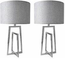 Set of 2 Chrome Sculptural Table Lamps