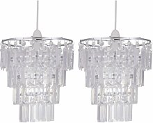 Set of 2 Clear Acrylic 4 Tier Easy Fit Light Shades