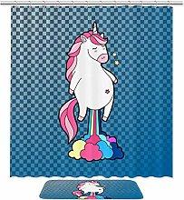 Set of 2 Cute Unicorn Pink Hair Rainbow Farting
