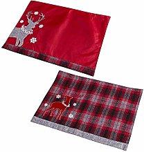 Set of 2 Decorative Festive Reindeer Fabric
