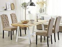 Set of 2 Dining Chairs Beige Velvet Fabric Modern