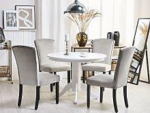 Set of 2 Dining Chairs Beige Velvet High Back