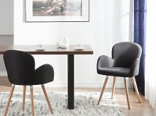 Set of 2 Dining Chairs Black Fabric Upholstery