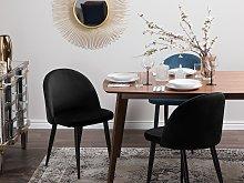 Set of 2 Dining Chairs Black Velvet Fabric Modern