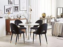 Set of 2 Dining Chairs Black Velvet Upholstery