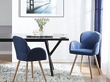 Set of 2 Dining Chairs Blue Fabric Upholstery