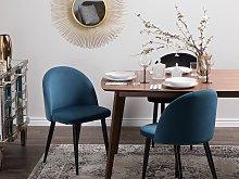 Set of 2 Dining Chairs Blue Velvet Fabric Modern