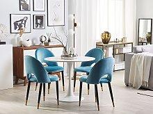Set of 2 Dining Chairs Blue Velvet Upholstery