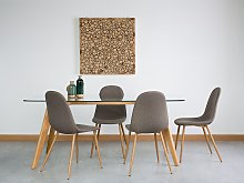 Set of 2 Dining Chairs Brown Fabric Metal Legs