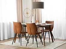 Set of 2 Dining Chairs Brown Fabric Upholstery