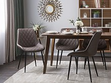 Set of 2 Dining Chairs Brown Faux Leather Quilted