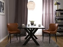 Set of 2 Dining Chairs Brown Faux Leather