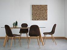 Set of 2 Dining Chairs Dark Brown Fabric Metal