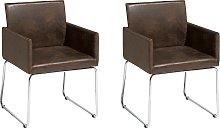 Set of 2 Dining Chairs Dark Brown GOMEZ