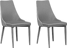 Set of 2 Dining Chairs Fabric Grey CAMINO