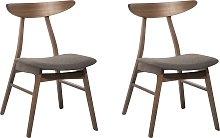 Set of 2 Dining Chairs Fabric Grey LYNN