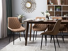Set of 2 Dining Chairs Golden Brown Faux Leather