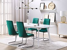 Set of 2 Dining Chairs Green Velvet Armless High