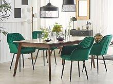 Set of 2 Dining Chairs Green Velvet Armrests Black
