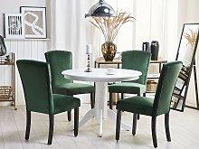 Set of 2 Dining Chairs Green Velvet High Back