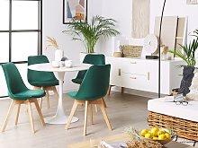 Set of 2 Dining Chairs Green Velvet Upholstery