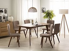 Set of 2 Dining Chairs Grey Fabric upholstery Dark
