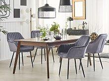 Set of 2 Dining Chairs Grey Velvet Armrests Black