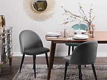 Set of 2 Dining Chairs Grey Velvet Fabric Modern