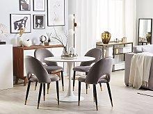Set of 2 Dining Chairs Grey Velvet Upholstery