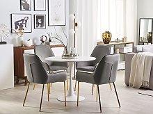 Set of 2 Dining Chairs Grey Velvet Upholstery Gold