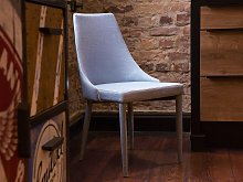 Set of 2 Dining Chairs Light Blue Fabric