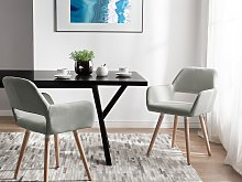 Set of 2 Dining Chairs Light Grey Fabric