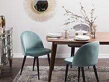 Set of 2 Dining Chairs Mint Green Velvet Fabric