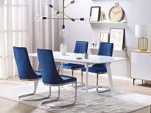 Set of 2 Dining Chairs Navy Blue Velvet Armless