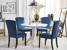 Set of 2 Dining Chairs Navy Blue Velvet High Back