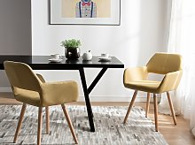 Set of 2 Dining Chairs Yellow Fabric Upholstery