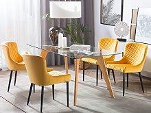Set of 2 Dining Chairs Yellow Velvet Upholstered