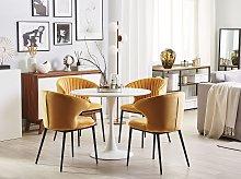 Set of 2 Dining Chairs Yellow Velvet Upholstery