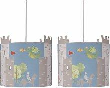 Set of 2 Dragon & Castles Light Shades