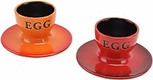 Set of 2 Egg Cups in Red and Orange   Individually