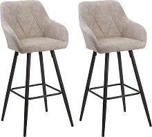 Set of 2 Fabric Bar Chairs Beige DARIEN